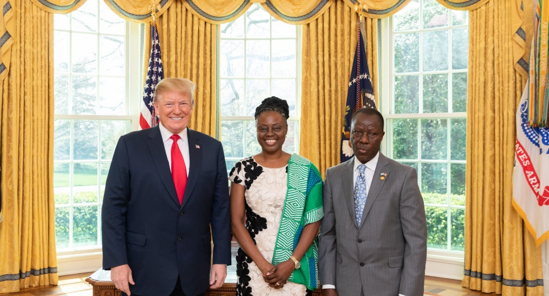 His Excellency Ambassador Sidique Abou-Bakarr Wai presenting to President Donald J. Trump his letter of accreditation as Ambassador Extraordinary and Plenipotentiary to the United States of America